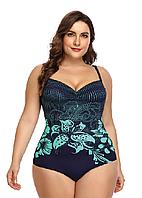 Купальник слитный женский большие размеры 54 - 62  Marina синий с бирюзовым принтом, фото 1