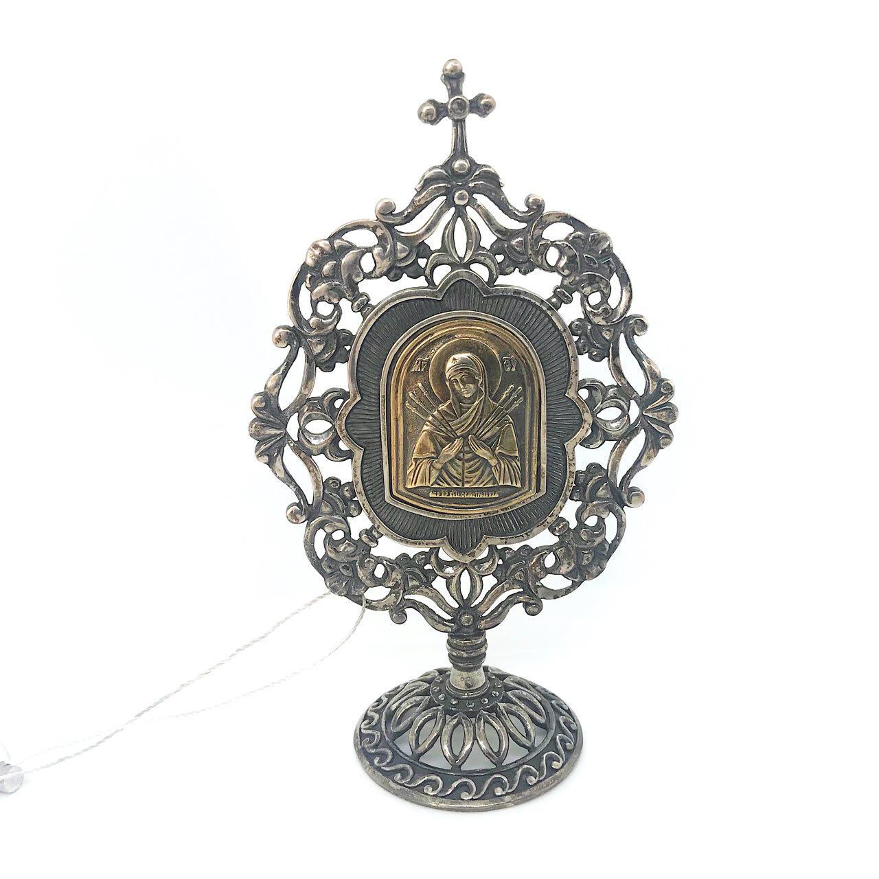 Икона настольная из серебра 925 пробы Брюс Богородица Семистрельная