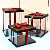 Коробка для торта Квадратная, прозрачная 32*32*40 см