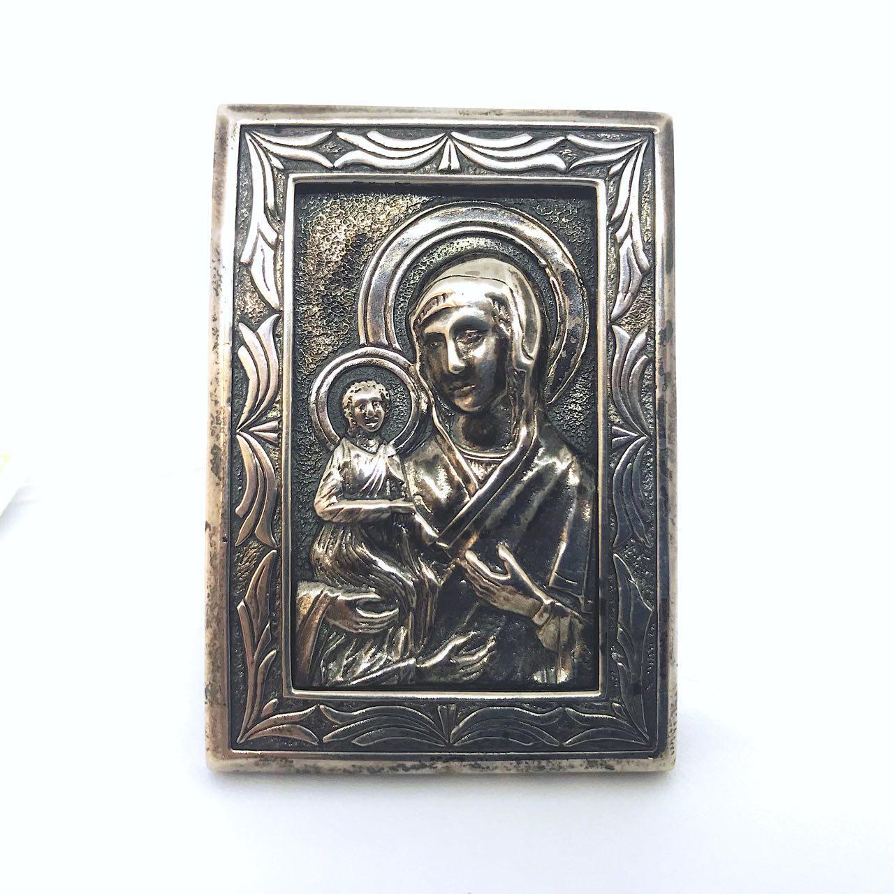 Ікона з срібла 925 проби Брюс Богородиця настільна
