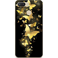 Бампер силиконовый чехол для Huawei P Smart с рисунком Золотые бабочки