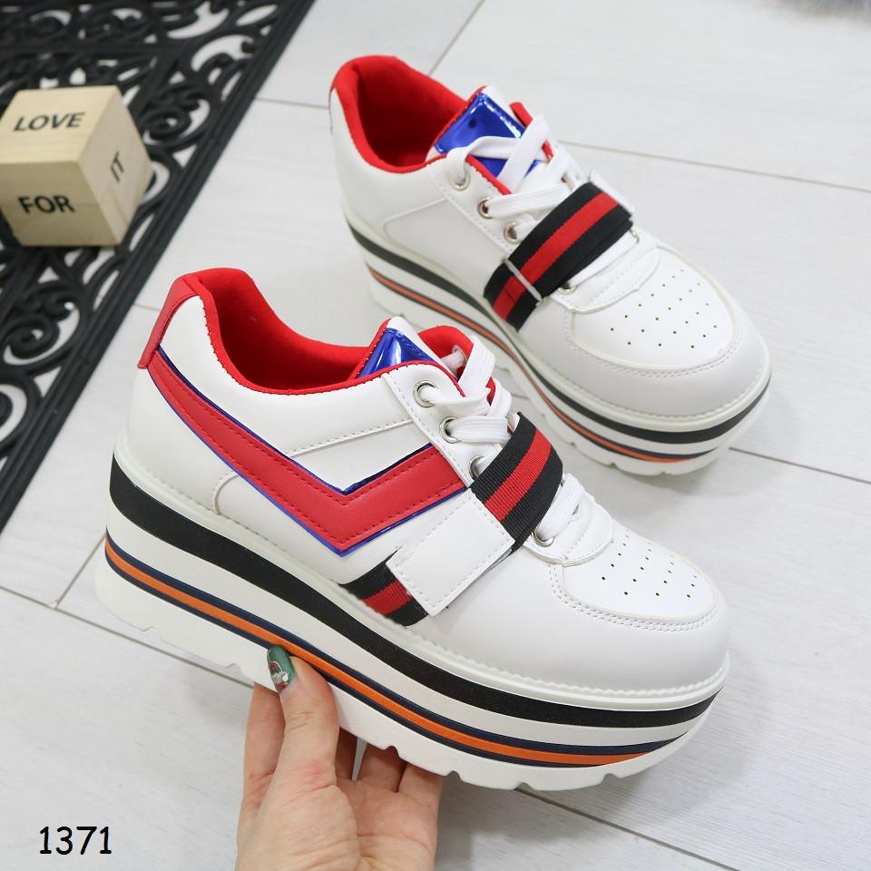 ba267413 Сникерсы на танкетке, белые, удобные, стильные, женская спортивная обувь