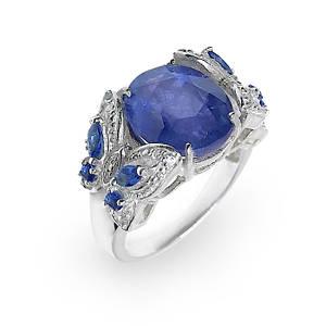 Кольцо серебряное с натуральным сапфиром размер 17