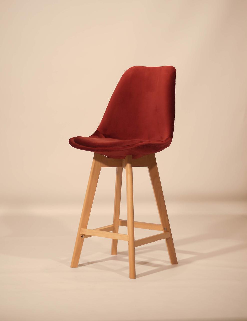 Стул барный тканевой на деревянных ножках  Milan Soft ,цвет бордо