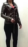 Куртка-пиджак кожа женская коричневый с поясом, фото 1