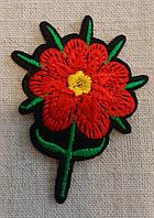 Термоаппликация  Цветок красный, 3 Х 2 см