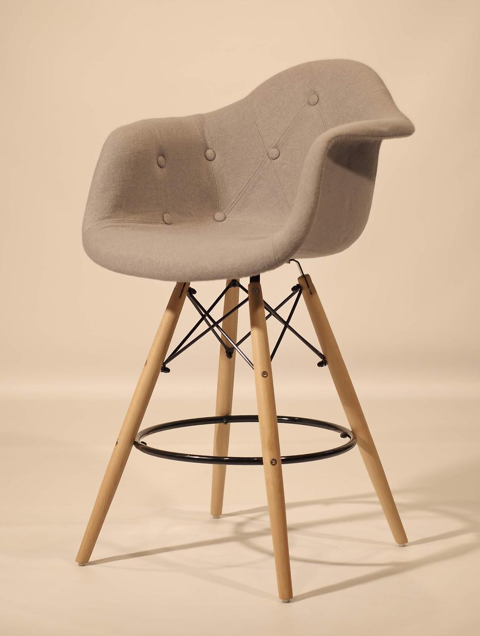 Кресло полубарное на деревянных ножках  Leon Soft  Шерсть, цвет серый