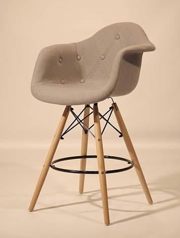 Кресло полубарное на деревянных ножках  Leon Soft  Шерсть, цвет серый, фото 2