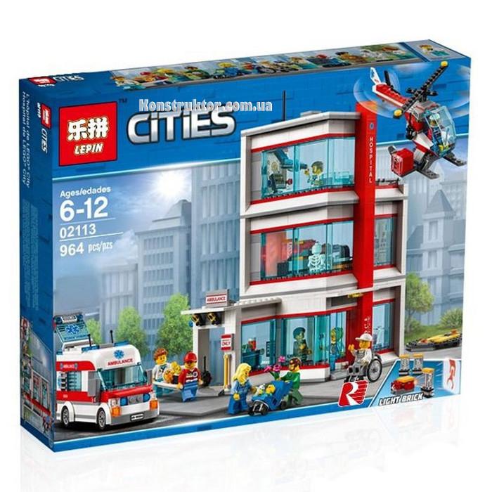 """Конструктор Lepin 02113 City """"Городская больница"""" 964 деталей. Аналог LEGO City 60204"""