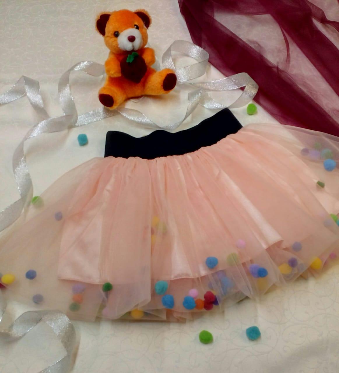 Детская фатиновая юбка с помпонами.  +Цвета