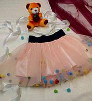 Детская фатиновая юбка с помпонами.  +Цвета, фото 1