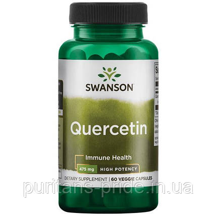 Иммунитет, Кверцетин экстракт, Swanson High Potency Quercetin, 475 мг 60 капсул, фото 2