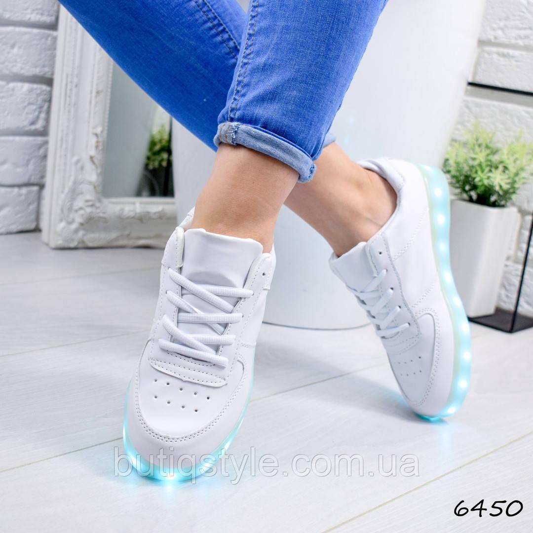 35, 36 размер Кроссовки женские LED белые эко-кожа