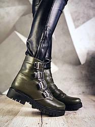 36 розмір! Зимові черевики жіночі Felinio олива натуральна шкіра