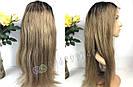 ✨ Парик из натуральных волос с отросшими корнями, прямые волосы ✨, фото 8