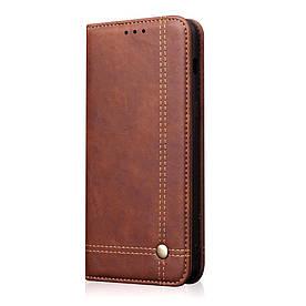 Чехол книжка для Huawei Honor V20 боковой с отсеком для визиток, Crazy Horse, темно-коричневый