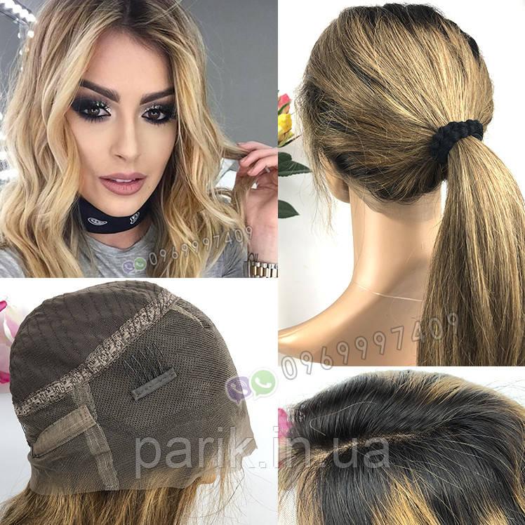 ✨ Прямой, длинный русый парик с темными коричневыми корнями ✨