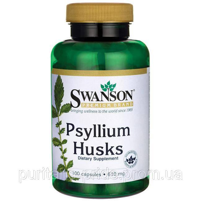 Насіння Подорожника, Psyllium Husks, Swanson, 610 мг, 100 капсул