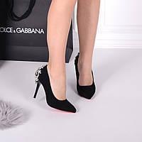 Женские туфли лодочки черные 9,5 см, фото 1