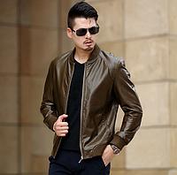 Кожаная мужская куртка на манжетах. (01332), фото 1