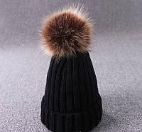 Женская зимняя теплая шапка с отцепным помпоном , фото 1