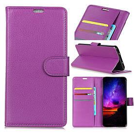 Чехол книжка для Xiaomi Mi Play боковой с отсеком для визиток и отверстием под динамик, фиолетовый