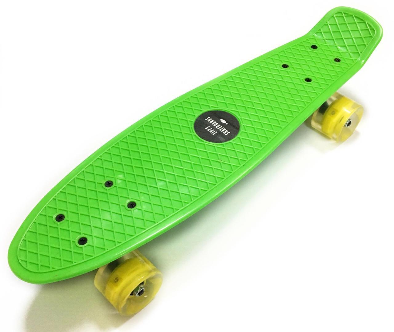 Скейт Пенни борд Penny Board Green - Салатовый 54 см Светятся колеса пенни борд