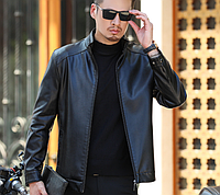 Кожаная мужская куртка на манжетах.Короткая куртка из PU- кожи.( 01333 ), фото 1