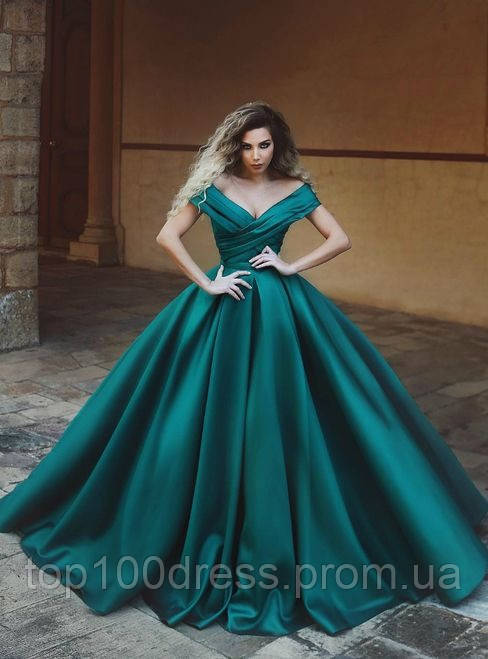 2b6c580a72106a2 Пышное атласное платье со спущеными плечами.Выпускное платье из атласа.  Пышное вечернее платье -