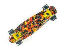 Скейт Пенни борд Penny Board Пенні Fish Skateboards LED Dark-Palms 22.5 - Черные Пальмы 57 см , фото 3
