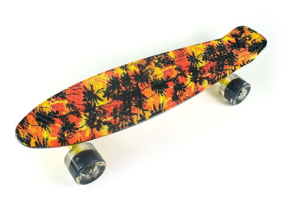 Скейт Пенни борд Penny Board Пенні Fish Skateboards LED Dark-Palms 22.5 - Черные Пальмы 57 см