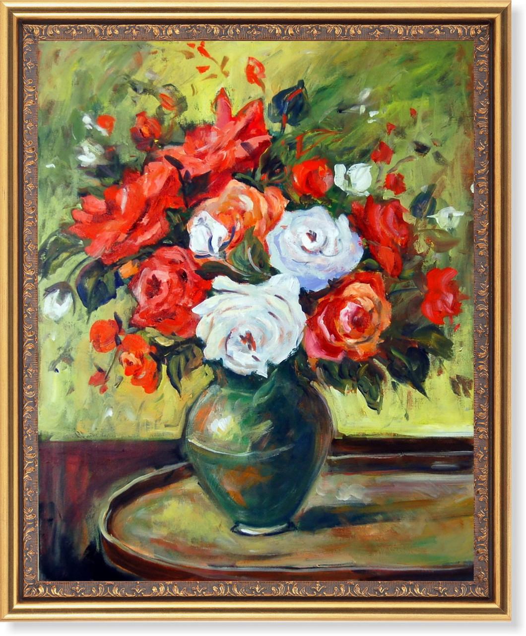 Репродукция  современной картины «Красные и белые розы» 40 х 50 см