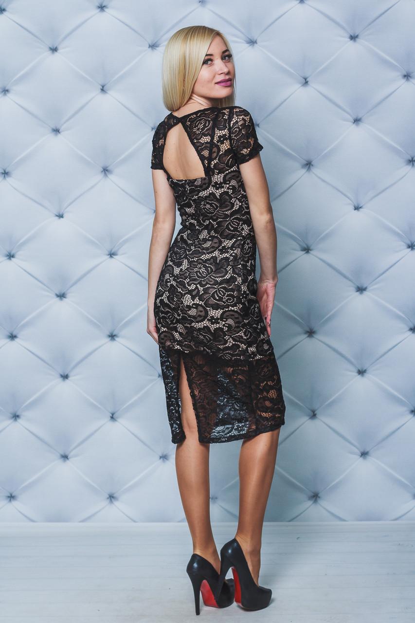 Нарядное женское кружевное платье черное