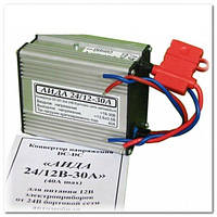 Автомобильный конвертор, преобразователь напряжения 24-12 Вольт АИДА, 30-40 А, 400 Вт, металлический корпус
