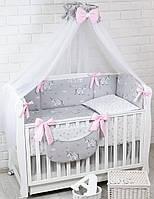 Комплект постельного белья Asik Единорожки с крылышками и серо-розовые  звёздочки 8 предметов (8 220e6c6e46922