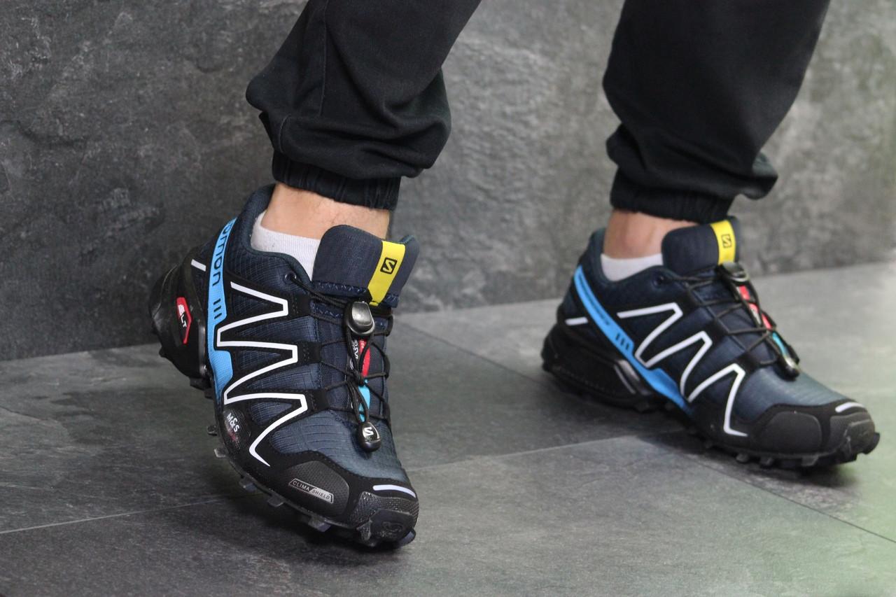 Нубук. Плотная сетка Мужские кроссовки Salomon Speedcross 3. Темно-синие с  голубым. 0387a9e983847