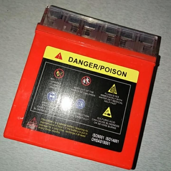 Аккумулятор 12V 5А гелевый (высокий) (оранжевый, с индикатором заряда)