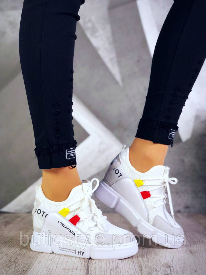39 размер! Кроссовки-сникерсы Lonzaженские белые пресс кожа/обувной текстиль (сетка)