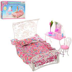 Мебель для куклы. спальня (кровать, трюмо, стул) В коробке