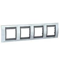 Рамка чотиримісна горизонтальна Schneider electric Unica TOP (метал) блискучий хром/графіт