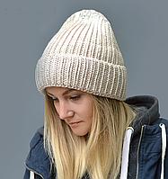 Металлизированная зимняя шапка для девочки Сильвер, беж (ОГ 52-56)