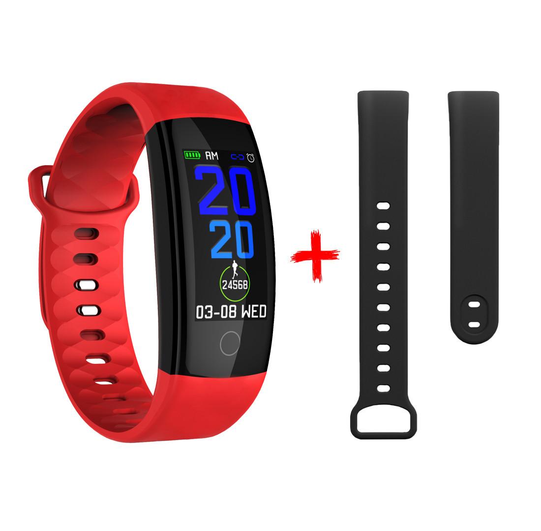 QS01 Фитнес браслет цветной дисплей тонометр давления крови iPhone и Android трекер пульсометр красно черный