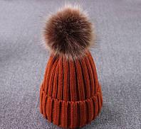 Женская вязаная шапка коричневая с отцепным помпоном опт, фото 1