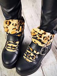 Зимові черевики жіночі Leo чорні натуральна шкіра