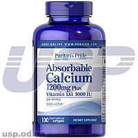 Puritan's Pride Absorbable Calcium 1200 mg with Vitamin D3 1000 IU кальций д3 минералы витамины