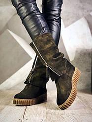 Зимові чоботи з відворотом жіночі хакі натуральна замша