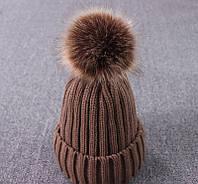 Вязаная женская шапка с помпоном цвета хаки опт, фото 1