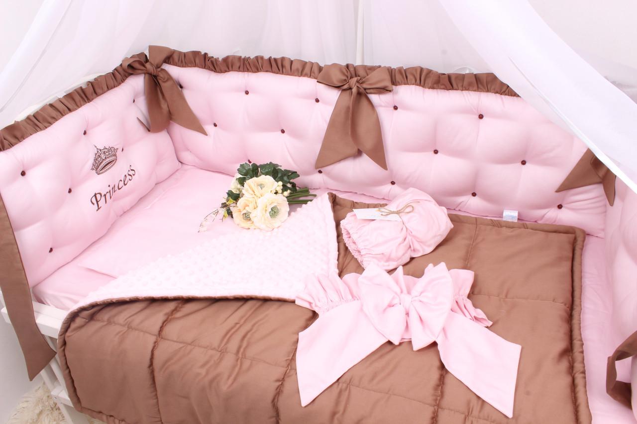 Комплект в кроватку в Розово-коричневом цвете