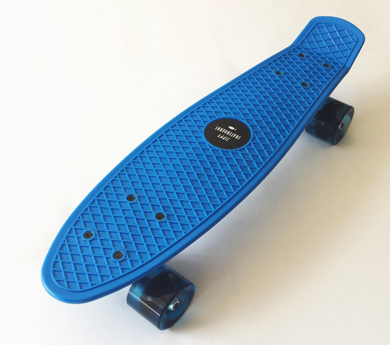 Скейт Пенни борд Penny Board 22 Blue - Синий  54 см Светятся колеса