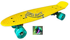 Скейт Пенни борд Penny Board LED 22 Yellow - Желтый 54см Светятся колеса